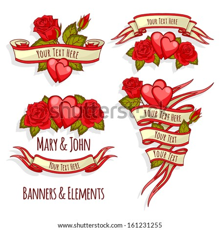 Ribbon Banners Banner Templates Elements Elements Stock Vector