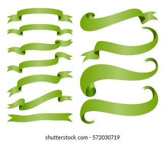 Ribbon banners isolated on white background. Collection of shiny tape. Vector Illustration.