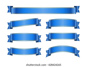 Ribbon banners set. Sign blank for promotion, web, advertising text etc. Collection retro scrolls design decoration elements. Symbol blue vintage label isolated on white background Vector illustration