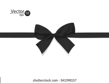 Ribbon with black bow on a white background. Vector illustration.