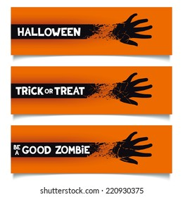 Ribbon blending smoothly into the hand of zombie with slogans for web and printing banner template.  Vector eps 10