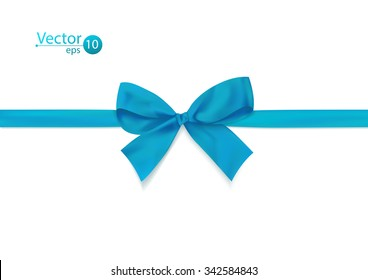 Ribbon with blue bow on a white background. Vector illustration.