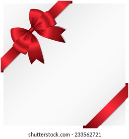 Ribbon and Bow Background - Vector ribbon and bow wrapping around a white background.  Ribbon can be adjusted easily to fit any format.  Colors are global swatches.