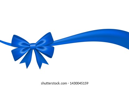 Ribbon bow for gift, isolated white background. Satin design festive frame. Decorative Christmas, Valentine day card, present holiday decoration. Birthday shiny silk ribbon bow Vector illustration