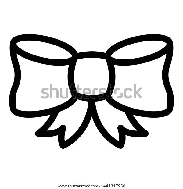 Ribbon bow icon. Outline ribbon bow vector icon for web design isolated on white background