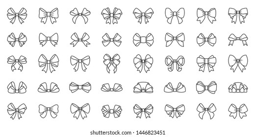 Ribbon bow thin line icon set. Gift decor collection of simple outline signs. Elegant tie symbol in linear style. Black contour flat icons design. Isolated on white concept vector Illustration