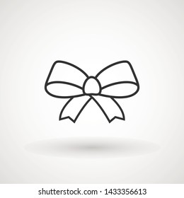 Ribbon Bow Vector Icon. Black gift bow silhouette. Template design for surprise, celebration event, presents, birthday, Christmas