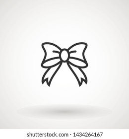 Ribbon Bow Vector Icon. Black gift bow silhouette. Template design for surprise, celebration event, presents, birthday, Christmas.