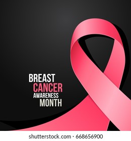 Ribbon breast cancer awareness month, October. Vector illustration