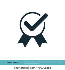 Ribbon, Check Mark Icon Vector Logo Template