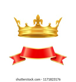 Ribbon and crown icons set closeup. Coronet made of gold with cross and decorative elements. Empty red banner with yellow edges isolated on vector
