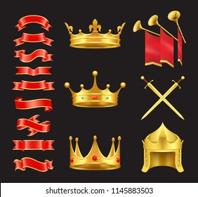 Ribbon and crowns swords icons set. Swirled banners with royal signs of power. Coronet with diamonds trumpets and red solemn flags isolated on vector