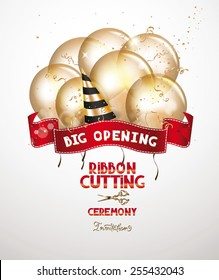 Ribbon cutting ceremony invitation card with gold air balloons and red ribbon