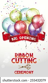 Ribbon cutting ceremony invitation card with air balloons and scissors