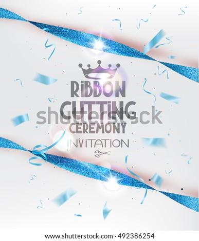 ribbon cutting ceremony invitation card blue のベクター画像素材