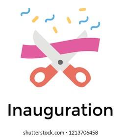 Ribbon cutting with scissor, inauguration flat icon