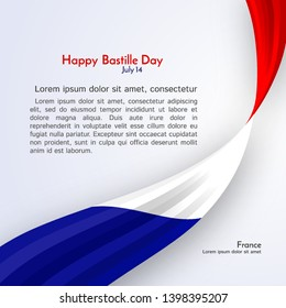 Ribbon flag of France and text Happy Bastille Day on a light background Brochure banner layout with wavy lines of French flag ribbons Patriotic background abstract wavy tricolor france theme Vector