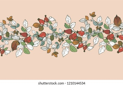 Ribbon floral ornament of asymmetrical interweaving of briar branches for your projects