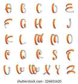 Ribbon font, Latin alphabet letters vector