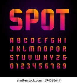 Ribbon font. Vector alphabet with latin letters and numbers.