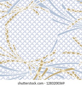 Ribbon gold blue template vector with Japanese wave background.