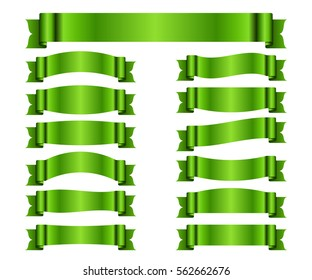 Ribbon green banners set. Sign satin blank for promotion, web, advertising text. Collection shiny scrolls design decoration elements. Symbol vintage label, isolated on white. Vector illustration