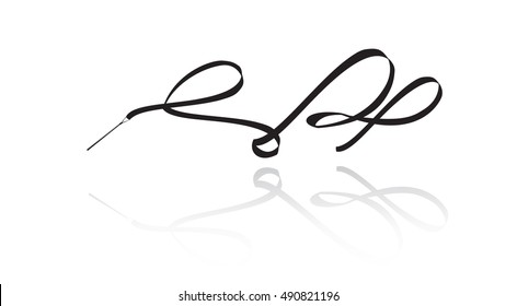 Ribbon. Ribbon gymnastics. Ribbon silhouette with shadow on white background. Isolated. Vector illustration. Ribbon rhythmic. Artistic ribbon. Ribbon gymnastics silhouette. Ribbon gymnastic dance.