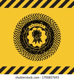 ribbon icon black grunge emblem inside yellow warning sign. Vector Illustration. Detailed.