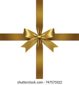 Ribbon Isolated Gold Bow on White Background. Vector Illustration of Gold Ribbon Bow with Greeting Gift Concept.