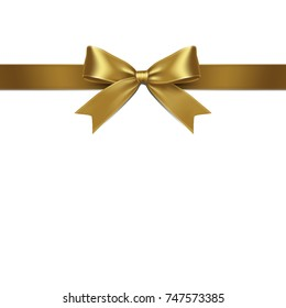 Ribbon Isolated Gold Bow on White Background. Vector Illustration of Gold Ribbon Bow.