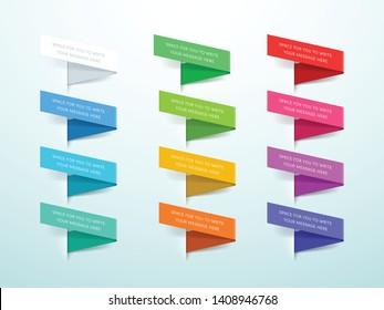 Ribbon Labels 3d Set of 12 Colors Vector