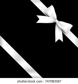 Ribbon Lean White Bow on Black Background. Vector Illustration of Lean White Ribbon Bow with Greeting Gift Concept.