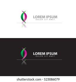 Ribbon logo design on black and white