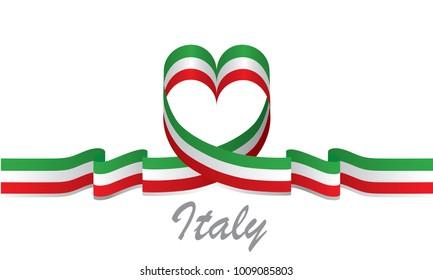 Made Italy Symbol Colored Ribbon Italian Stock Illustration