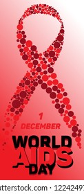 A ribbon made of red circles for the World AIDS day. For posters, postcards, leaflets and other printed matter