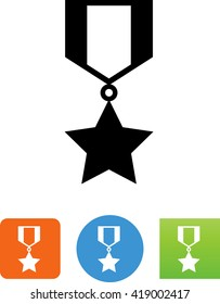 Ribbon with medal and star icon