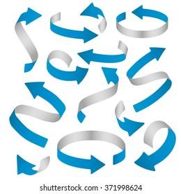 ribbon paper flat realistic volumetric 3d colored curly vector arrows illustration set