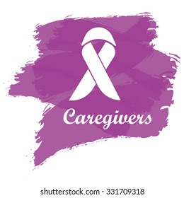 Ribbon with plum color brush for honor caregivers in November