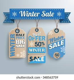 Ribbon with price stickers for winter sale. Eps 10 vector file.
