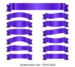 Ribbon purple banners set. Sign violet satin blank for promotion, web, advertising text. Shiny scrolls design decoration elements. Symbol vintage label, isolated on white. Vector illustration