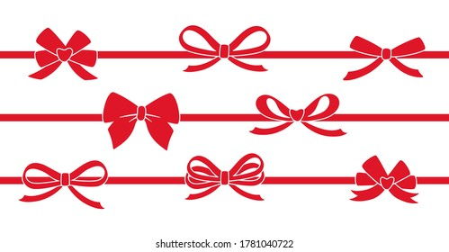 Ribbon red decorated with bows silhouette set. Valentine day, wedding or Christmas decorated tape bows. Cartoon design elements for present, celebration, congratulation. Isolated vector illustration