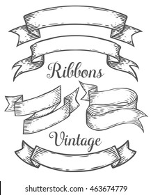 Ribbon retro vintage hand drawn illustration vector set. Sketch banners, old school style. For decoration, scrapbook and web, mobile design. White black isolated. Sketch etch ink line.