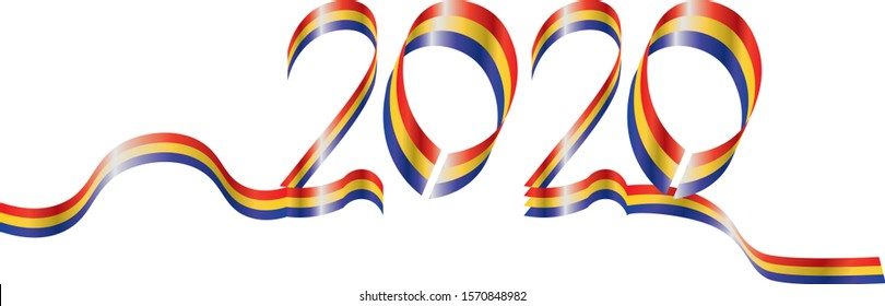Ribbon with Romania National flag and year 2020