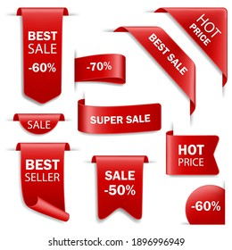 Ribbon sale badges, banners, price tags. Tags set. Vector badges and labels isolated.