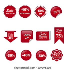 Ribbon sale color red vector