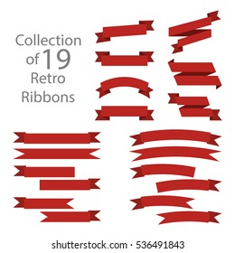 Ribbon set red colored on white background
