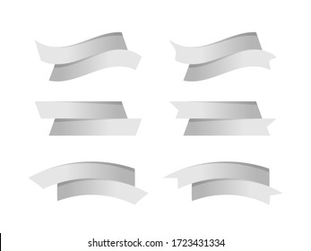 ribbon silver stripe shape isolated on white background, ribbon grey tag collection for element graphic design, ribbon line silver for label copy space text, border tape curl gray ribbon shaped