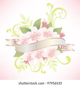 ribbon with spring flower