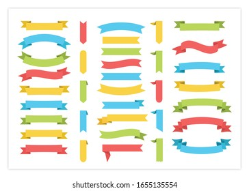 Ribbon template banner vector collection illustration. Vintage colorful design curly ribbon labels and curved scroll flags or sticker banners with blank space for special price promotion template