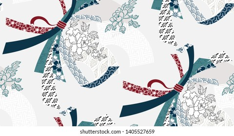 ribbon traditional geometric kimono seamless pattern vector sketch illustration line art japanese chinese oriental design